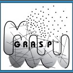 The black and white logo for GRASP with a blue border.